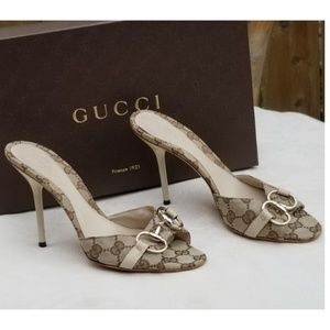 Gucci stiletto horsebit slip on heels Size 37C